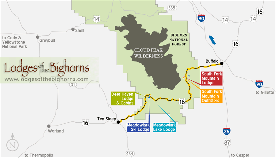 Lodges Of The Bighorns Lodging Cabins Skiing And Outfitters - Wyoming us map